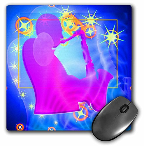 Price comparison product image 3dRose LLC 8 x 8 x 0.25 Inches Sax Jazz Player Abstract Art with Stars and Blue Background Will Get Lots of Attention Mouse Pad (mp_60110_1)