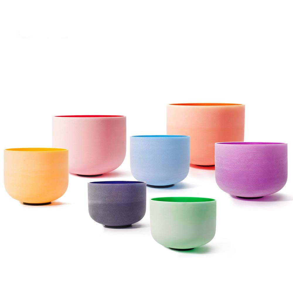 Chakra Tuned Set of 7 Pieces of Color Frosted Quartz Crystal Singing Bowls 6''-12'' + mallets & O-rings by Unknown (Image #5)