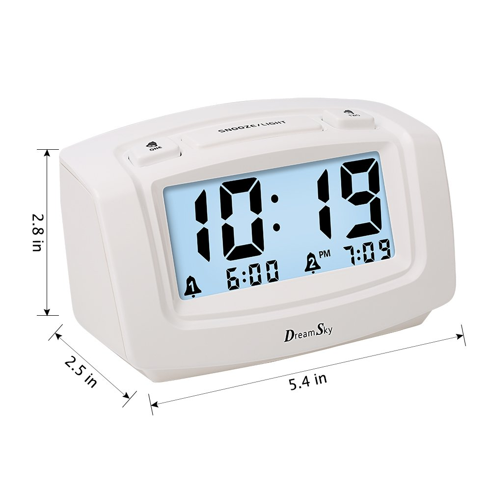 DreamSky Dual Alarm Clock with Smart Adjustable Nightlight, Snooze, Large LCD Display, Portable Battery Operated, Ascending Alarms Sound, Simple Operate Clock for Bedroom Kids by DreamSky (Image #4)