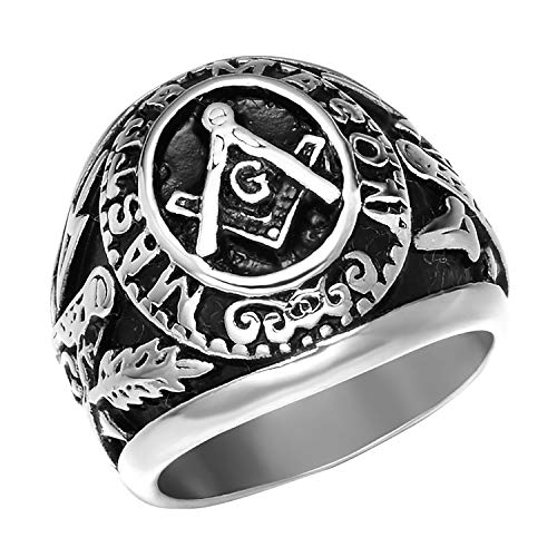 Rinspyre Men's Antique Stainless Steel Masonic Ring Etched Freemasonry Symbol Biker Jewelry Silver Size 9 ()