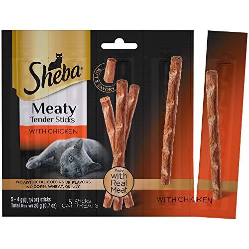 Real Meat Jerky Treats Cat Treats - SHEBA Meaty Tender Sticks Cat Treats Chicken Flavor, (50) 0.14 oz. Sticks