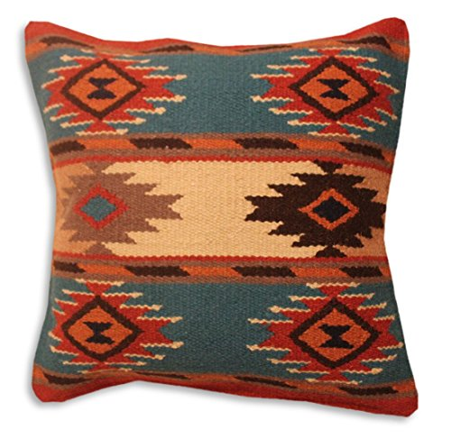 (Southwest Boutique Hand Woven WOOL Throw Pillow Cover Southwest Mexican Tribal Native American Style (Nogales))