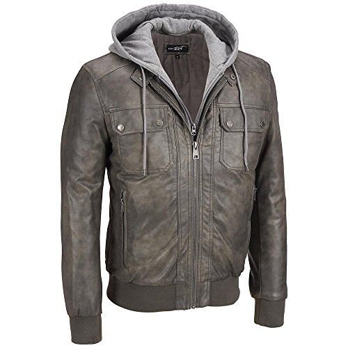 Black Rivet Mens Big & Tall Faux-Leather Hooded Bomber 2XLT Grey