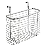 InterDesign Axis Over the Cabinet Kitchen Storage Organizer Basket for Aluminum Foil, Sandwich Bags, Cleaning Supplies - Medium, Chrome (Kitchen)