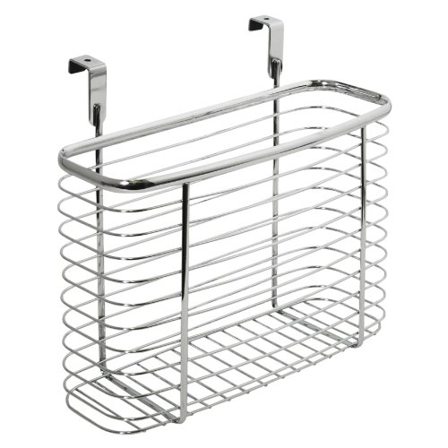 InterDesign Axis Over the Cabinet Kitchen Storage Organizer Basket for Aluminum Foil, Sandwich Bags, Cleaning Supplies - Medium, Chrome (Supreme Bathroom Sink)
