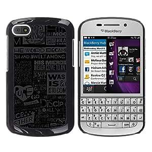 Qstar Arte & diseño plástico duro Fundas Cover Cubre Hard Case Cover para BlackBerry Q10 ( Jesus God Quote Newspapepr Poster Art)