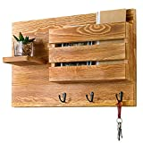 MyGift Burnt Wood Wall-Mounted Mail Holder with Key Hooks & Accent Shelf