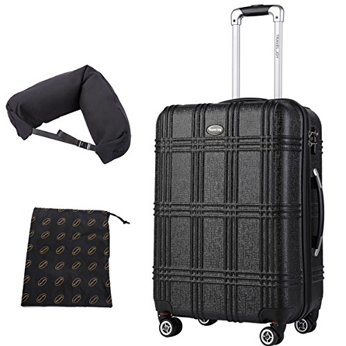 Expandable Spinner Luggage Set,TSA lightweight Hardside Luggage Sets, 20'' 24''28 inches Luggage (BLACK-1, 20 inches) by Travel Joy (Image #1)