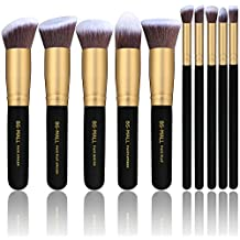 BS-MALL(TM) Premium Synthetic Kabuki Makeup Brush Set Cosmetics Foundation Blending Blush Eyeliner Face Powder Brush Makeup Brush Kit (10pcs, Golden Black)