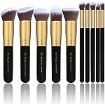 BS MALL TM Makeup Brushes Premium Makeup Brush Set Synthetic Kabuki Cosmetics Foundation Blending Blush Eyeliner Face Powder Brush Makeup Brush Kit 10pcs Golden Black