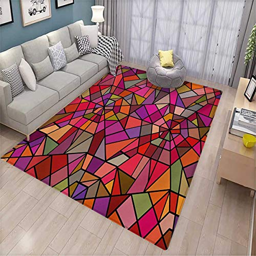 - Abstract Bath Mat 3D Digital Printing Mat Mosaic Style Stained Glass Fractal Colorful Geometric Triangle Forms Artful Image Door Mat Increase 6'x7' Multicolor