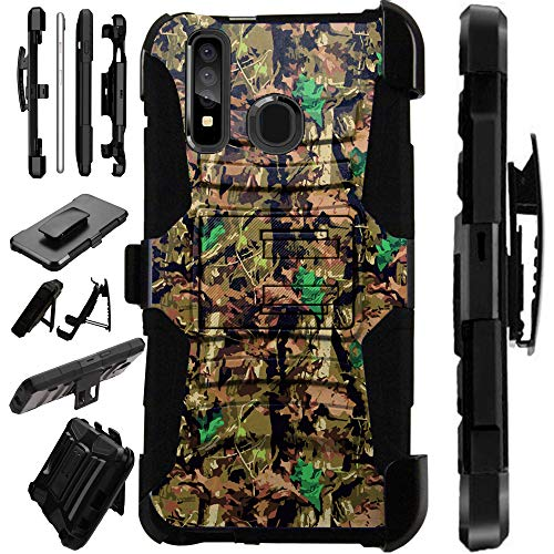 Compatible Samsung Galaxy A50 (2019) Case Armor Hybrid Phone Cover LuxGuard Holster (Camo Oak Brown)