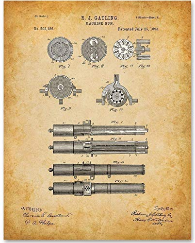 (Gatling Machine Gun - 11x14 Unframed Patent Print - Makes a Great Gift Under $15 for Gun and Civil War Enthusiasts)