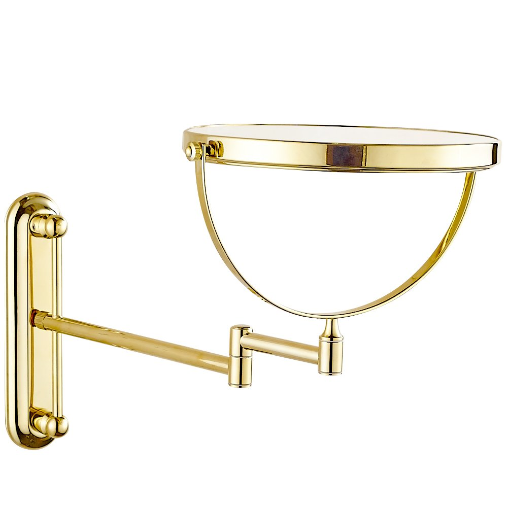 GURUN 10x Magnification Adjustable Round Wall Mount Mirror 8-inch Double Sided Makeup Mirrors,Gold Finish M1806J(8in,10x) by GURUN (Image #5)