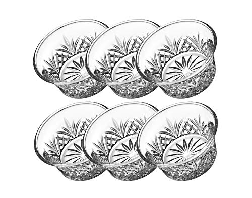 Godinger Bowl Set - Crystal Mini Prep, Dip, Dessert, Bar Snack Dish Bowls - 2oz, Set of 6