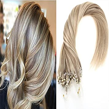 Amazon sunny blonde highlight micro ring extensions human sunny blonde highlight micro ring extensions human hair 16 inches 50gram real loop rings hair extensions pmusecretfo Images