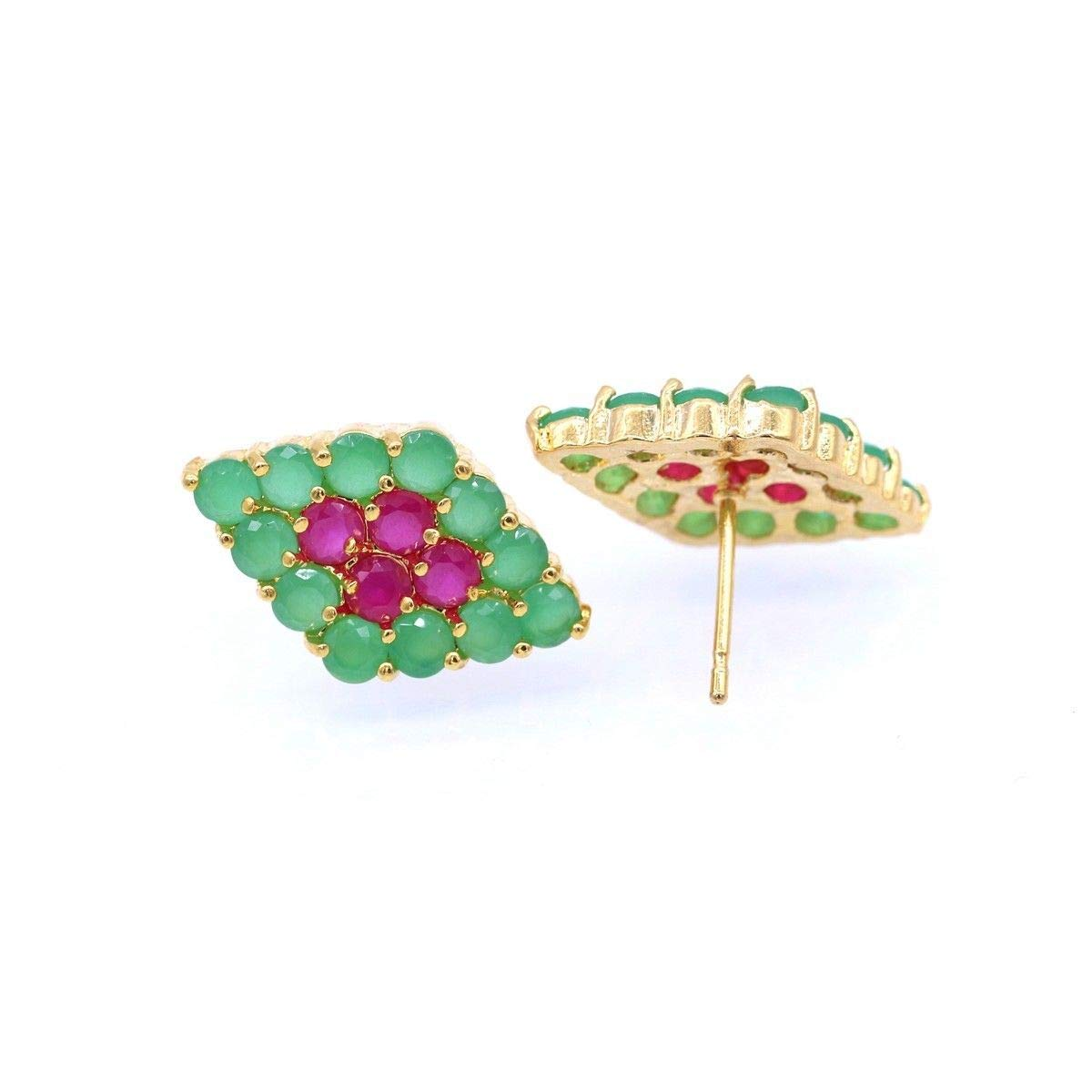 CRISTORE Bride Ruby Emerald 18K Yellow Gold Plated Fashion Stud Earrings for Women