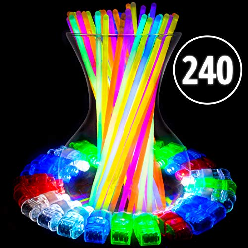 Glow Sticks and LED Finger Lights – 240pk Bulk Glow in The Dark Party Favors, Rave Accessories, Neon Glow in The Dark Party Supplies for Adults Kids