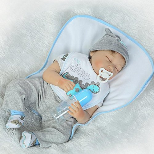 Tianara Reborn Baby Silicone Doll Gifts 22 Inch Realistic Real Like Newborn Cute Grey Blue Outfit