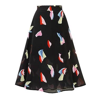 7938b965af48 Rosatro Women Maxi Skirts Casual Summer High Waist Bohemian Loose Skirt  Chiffon Elegant Print Skirts Black