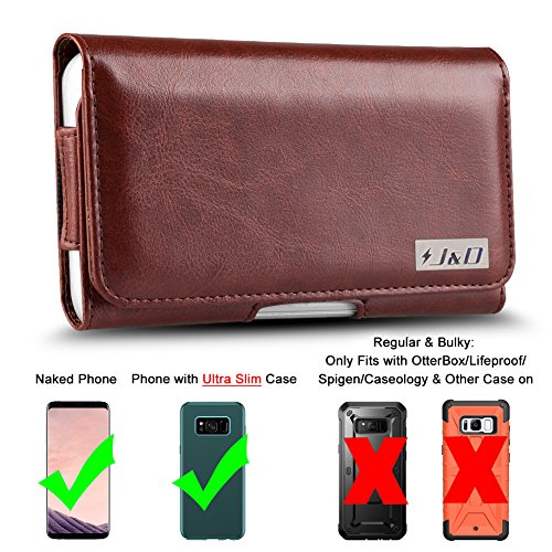 J&D Holster Compatible for Galaxy S8 Plus/Galaxy S9 Plus Holster, PU Leather Pouch Case with Belt Clip, Leather Wallet Case for Samsung Galaxy S8 Plus Case (Fit with Naked Phone or Slim Case On)