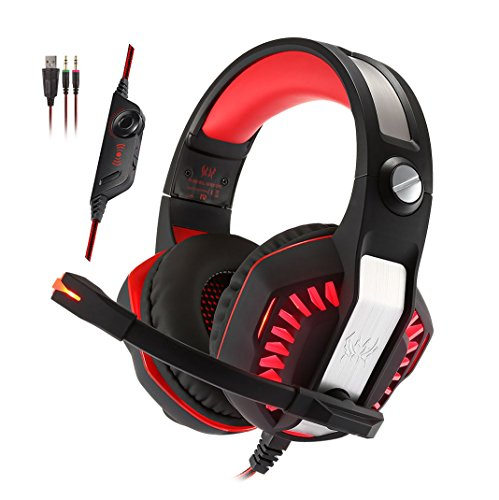 Cheap KOTION EACH G2000 2.0 Vibration Over-ear Gaming Headset with Mic 3.5mm, 2.2m Cable, Volume Control, LED Light Noise Reduction Headphones for Computer Games, PS4, Laptops, Tablet, Smartphones (Red)