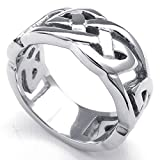 TEMEGO Jewelry Mens Stainless Steel Ring, Vintage Hollow Myth Thor's Hammer Ring, Black Silver