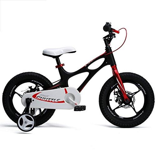 HAIZHEN マウンテンバイク ロイヤルベイビー、新発売のスペースシャトルキッズバイク、男の子用軽量マグネシウムフレームバイク、年齢3-6歳用マグネシウムトレーニングホイール付きバイク 新生児 B07C6STSFX 18Inch|ブラック ブラック 18Inch
