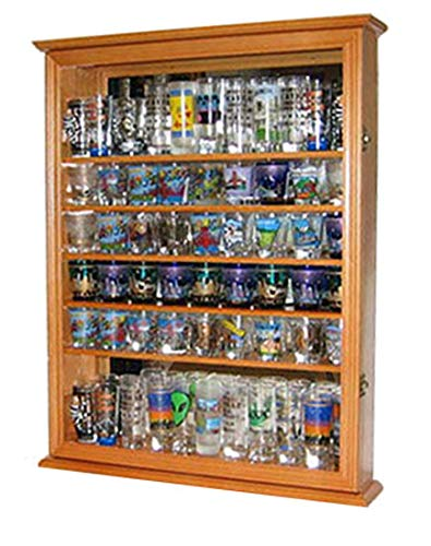 Large 72 Shot Glass Display Case Cabinet Rack Holder-Mirror Back (Oak ()