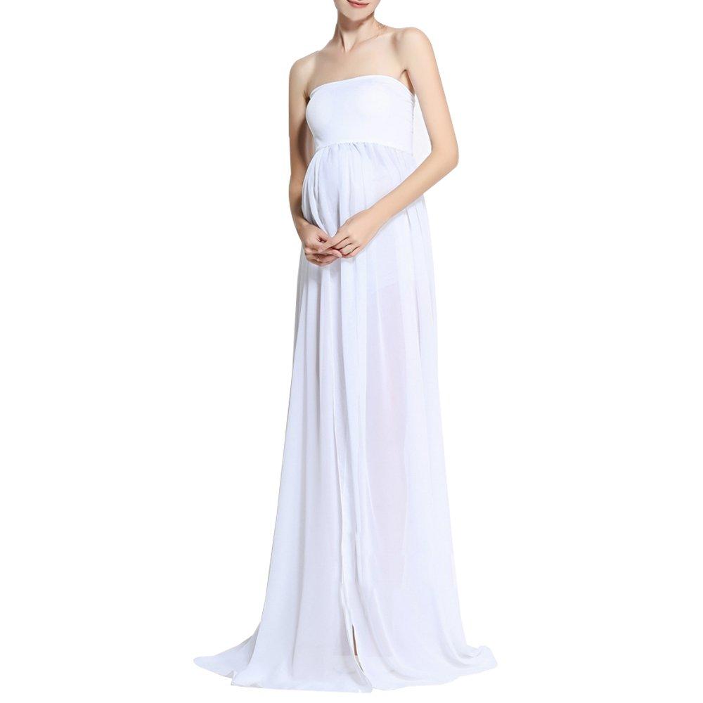 BOZEVON Modern Pregnant Women Photography Props, Vestido de Maternidad Split Vista Delantera Foto Shoot Dress, Faldas Fotográficas de Maternidad: Amazon.es: ...