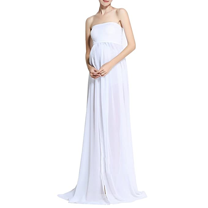 BOZEVON Modern Pregnant Women Photography Props, Vestido de Maternidad Split Vista Delantera Foto Shoot Dress