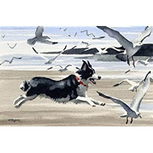 Border Collie at The Beach Dog Art Print by Watercolor Artist DJ Rogers 3