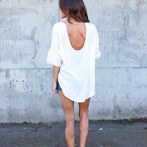 Blousons Femmes Neck Manadlian Grande V Sexy Chemises T Manches Chiffon Femmes Shirt Taille Blanc fqqPEH
