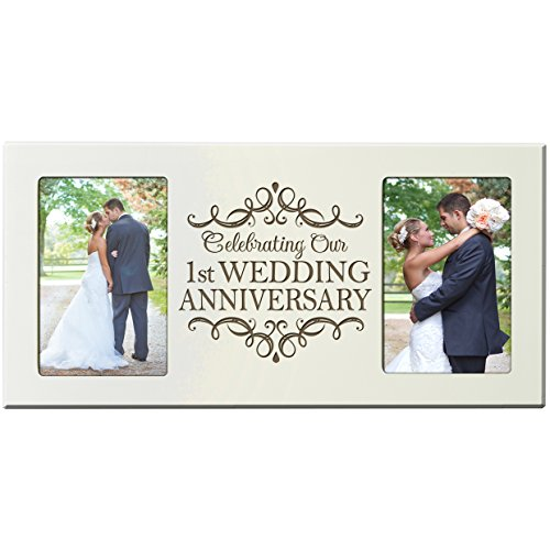 1st Wedding Anniversary Picture Frame Gift for Couple 1 Year Anniversary Gifts for Him Her Photo Frame Holds 2- 4x6 Photos 8 Inches High X 16 Inches Wide (Ivory)
