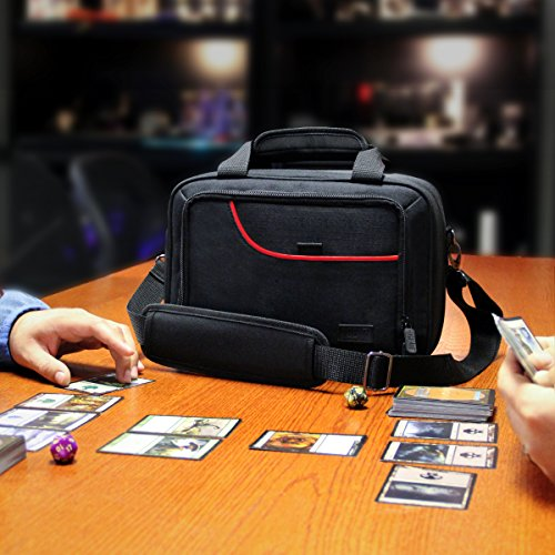 USA Gear Card Deck Storage Bag Compatible with MTG Magic The Gathering - Card Protector Bag with Padded Shoulder Strap, Customizable Interior, Weather Resistant - Fits Boxes & Loose Cards - Red