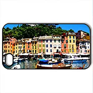 Houses - Case Cover for iPhone 4 and 4s (Houses Series, Watercolor style, Black)