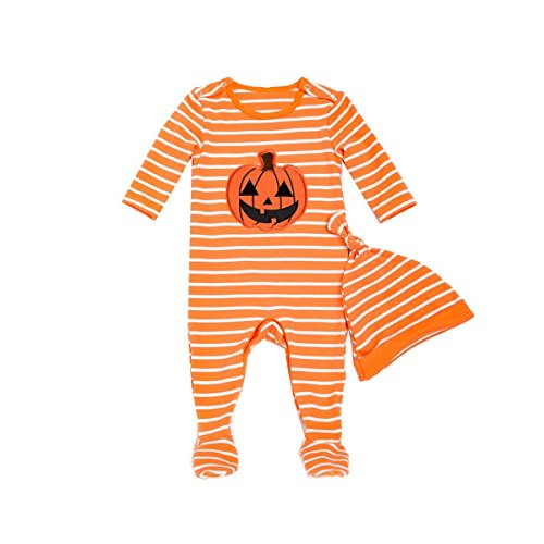 (Fairy Baby Toddler Baby Girls Boys Halloween Pumpkin Footies 2 Piece Pajamas Set Size 0-3M (Yellow))