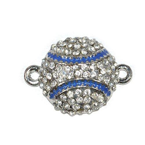DongStar Fashion Jewelry, Cooper Paved Connector Bead Rhinestone Crystal Baseball Bracelet Charm Collection Designed for Handmade Bracelet, Pack of 8 (Handmade Baseball)