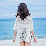 Women's Long Sheer Floral Lace Cardigan Tied Rope