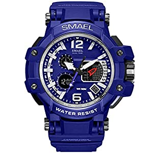 Richermall SMAEL Men's Sport Military Watch Dual Display Analog Digital Watch 50M Waterproof for Sports