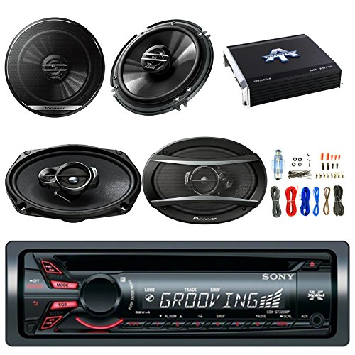 "Sony Xplod CDX-GT320MP Cd Receiver W/52x4W Amp w/Pioneer 6.5"" 2 Way Speakers (Pair) 300W, Pioneer TSA6966R 6""x9"" 420W 3-Way Speaker (Pair), Autotek TA10504 1000W 4 Chan. Amp & Enrock 50' 18G Wire"