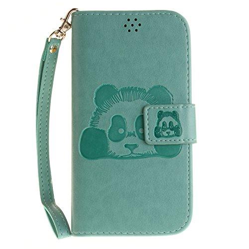 Hülle für LG K10, LG K10 Hülle / Handyhülle / Schutzhülle / Ledertasche / Tasche / Case / Cover / Flip Brieftasche, Anlike Geprägte Panda für LG K10 (5,3 Zoll) Bookstyle Kartenfach Standfunktion Handy grün