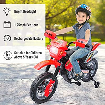 Qaba 6V Kids Electric Battery-Powered Ride-On Motorcycle Dirt Bike Toy with Training Wheels Red: Toys & Games