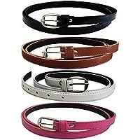 Pontos Girl's Leather Belts Combo of 4 (Black,Brown,White & Blue)(GLA/WOMENBELTS/BKBRWHBLU)
