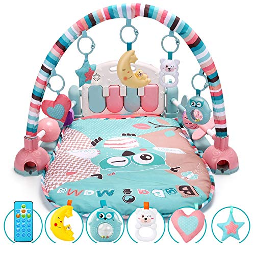 ZXYWW Baby Gym and Play Mat, Baby Toy Pedal Piano Fitness Frame Blanket, Multifunctional Piano Exercise Rack with 5 Baby Activity Toys for Newborn Supplies (Tivity Center)