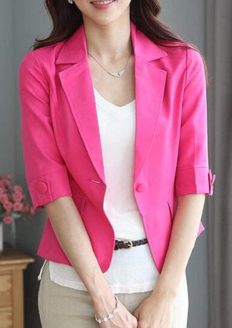 JYZJ Women 3//4 Sleeve Candy Color Slim Fit Summer Formal Work Blazer Jacket Suit Coat