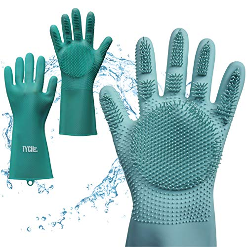 (TYCHE Silicone Gloves with Wash Scrubber for Dishwashing, Kitchen Bathroom Cleaning, Pet Hair Care, Car Washing [2 Pairs] [2019 New Design] [Better Grip] [Improved Durability] [Perfect Sizing])