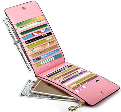 Tarjeta VENTA Genuino de Cuero Caja color De Mujer Yaluxe Cartera Con Organizador Multi Luz Oranga Bolsillo rosa Zipper De GRAN Regalo W8UwdYqd