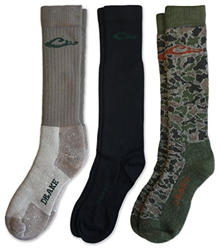 Drake Men's Merino Wool Insulated Full Cushion And Sock Liner Cold Weather Boot Socks 3 Pair (Mocha/Black/Camo Green, Men's Shoe Size 9-13 - Sock Size (Drake Duck Hunting)