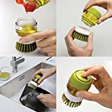 Soptool Soap Dispensing Palm Brushes Kitchen Cleaning,Plastic Hand-held Cleaning Brush with Storage Container Stand for Bottle Pot Dish Bowl Kitchen Accessories Tool (Green)